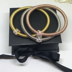 Swarovski Elements Jewelry - 3 Color Wire Bracelet w Crystal Bow Detail  [JW-4]